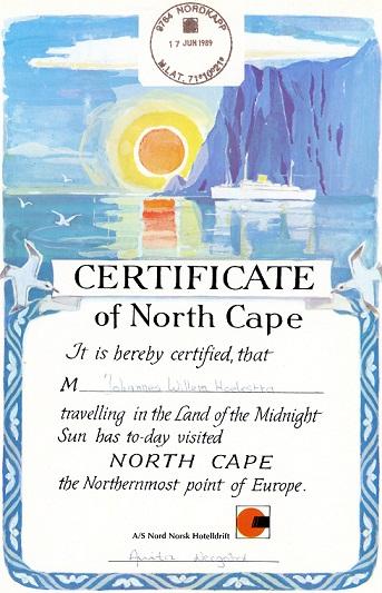 Certificaat Noordkaap 17 juni 1989